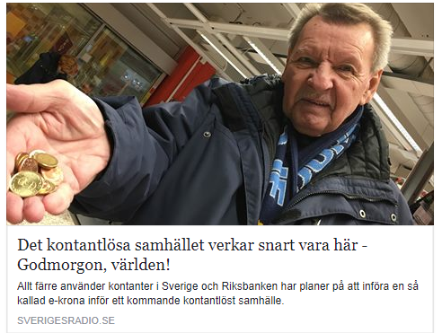 Sverige uppmarksammas for kontantlost samhalle